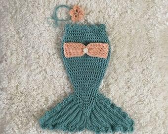 Crocheted Baby Mermaid Tail, Newborn Mermaid Outfit, Baby Girl Photo Prop, Newborn Mermaid Photo Prop