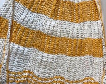 Vintage Crochet Apron Orange White 1960s 1950s Small