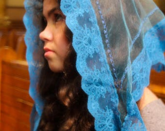 Tulle Mantilla / Blue Lace Veil / Covering for Church / Headdress for Mass / Modest Mantilla / Catholic Gifts for Her / Religious Veil