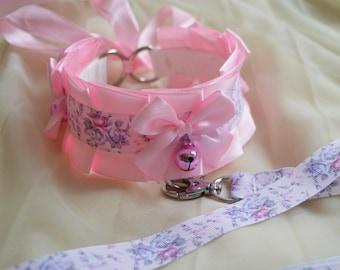 Kitten play collar and leash set - Sweet Antoinette - pink choker necklace - lolita neko bdsm proof kink adult gear with bell - nekollars