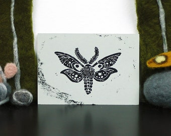 Moth Linoprint Postcard