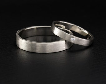 Simple wedding band set, His and hers wedding rings, Matte finish bands, Men silver wedding band, Women silver wedding ring, Wedding rings