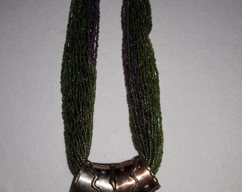 Multi Strand Seed Beads Silver Plated with Brass Accent Vintage Necklace