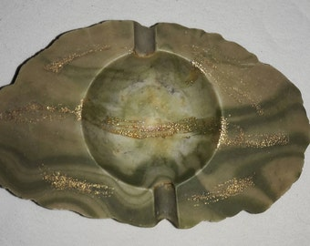 Marble With Gold Fleck Streams and Green Vintage Ashtray
