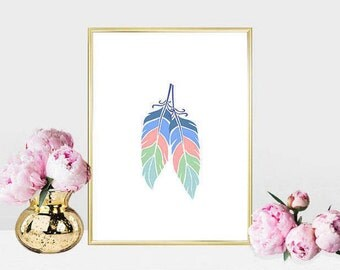 Printable art Digital Prints Home decor feathers