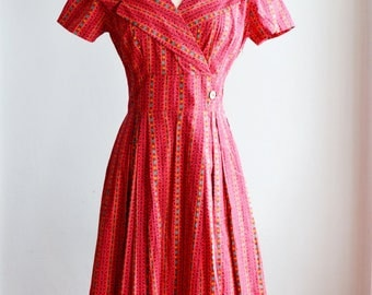1950's Novelty Border Print Spring Dress/Waist