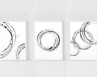 Abstract Art Set, Set of 3 Wall Art, Black White Artworks, Circles Poster, Minimalist Wall Decor, Scandinavian Art, Minimal Printable Art,