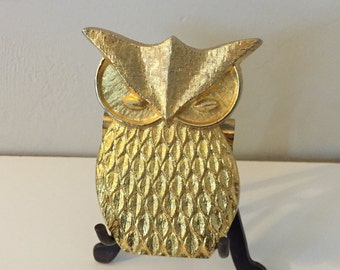 Gold Tone Owl Paper Weight - Paper Clip - Binder clip