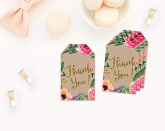 Garden Party Favor Tags, Garden Party Thank you Tags, Garden Party invitation, Party Favors, Party Favor Tags, garden party baby shower tags