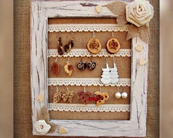 Gift for Her Present for Mom Shabby Chic Earring Holder Wall Jewelry Display Jewelry Holder Frame Jewelry Organizer Wedding Home Decor