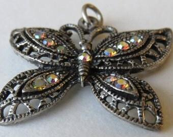 Vintage Rhinestone Butterfly Pendant Vintage Costume Jewelry Rhinestone Pendant