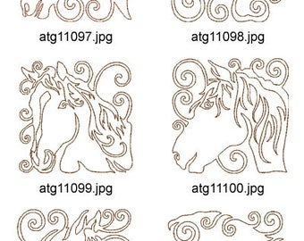 Equine-Fantasy-Redwork ( 10 Machine Embroidery Designs from ATW ) XYZ17D