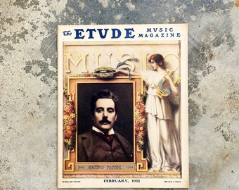 1925 Etude Music Magazine, Giacomo Puccini, Sheet Music, Vintage Ads
