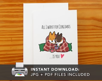PRINTABLE Red + Tricolor Corgi Snuggle Greeting Card | Printable Holiday Cards | Corgis I Love You Greeting Card | Instant Download JPG PDF