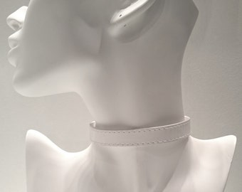 White Faux Leather Collar Choker