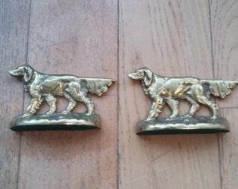 Vintage Brass Bookends Setter Dogs