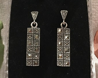 Beautiful Vintage Sterling Silver RECTANGULAR Shaped Dangle Earrings- Beautiful MARCASITES All over-Wonderful 3.4cm Drop