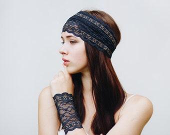 Black Headband / Womens Headbands / Edgy Clothing / Black Lace Headband / Boho Headband / Adult Headbands for Women // Black and Gold