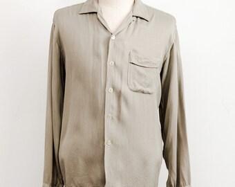Vintage 1950s Soft Sage Gabardine Loop Collar Shirt VLV Rockabilly XL