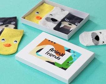 Animal Friends Ducks Polar Bears Walrus Baby Socks Gift Set 0-12M