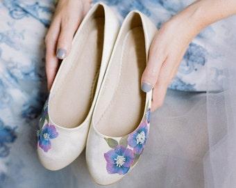 Purple anenome Handpainted  custom Flat Wedding Shoes