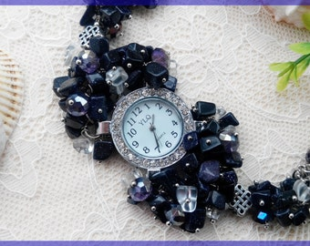 Jewelry watch Wrist watch Woman watch Bracelet watch Blue watch Beaded watch Ladies watch Designed watch Mother's day gift Woman's day gift