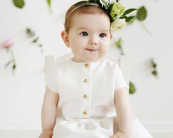 White girl dress / Golden buttons / Simple cute little dress / Baptism dress / Baby dress / Christening