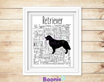"Retriever Print Art Work Typography On A4 Top Quality Card 10""x8"""