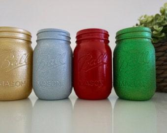 Glitter Christmas Pint Size Jars