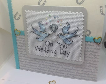 Completed cross stitch wedding card