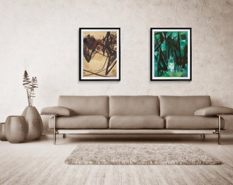 Abstract Print Set of two, Large Print Art, Abstract, Giclee Print, Green Abstract, Large Abstract Print, home decor, wall print, ZDQ8589