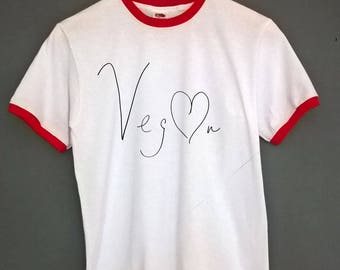 Vegan T shirt Handwritten Vegan Ringer T Shirt SIZES S-XXL