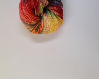 hand dyed yarn, hand dyed sport yarn, hand painted yarn, sport yarn, Paradise