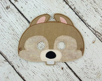 Squirrel Mask - Woodland Animal Mask - Forest Animal Mask - Pretend Play - Dress Up - Halloween - Party Favor - Camping Party