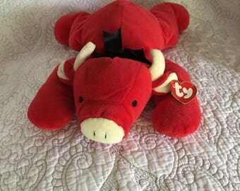 """Vintage 14"""" TY Beanie Babies Red The Bull Pillow Pals - TY Inc 1997"""
