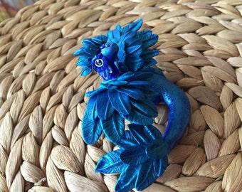 Blue Dragon, Phönix Dragon, fantasy sculpture, magic figure