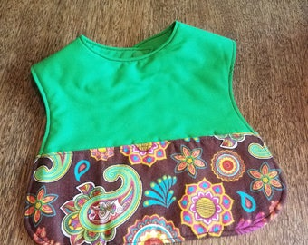 Reversible Baby Bib with Pocket Brown Paisley and Green