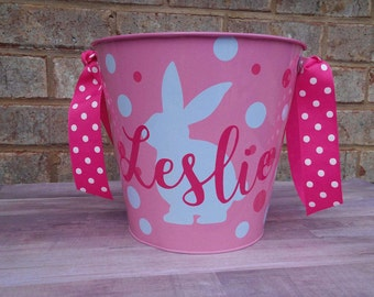 Personalized Metal Easter Bucket, Easter Pail, Easter Bunny, Easter Basket