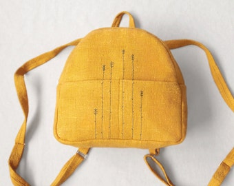 Backpack small linen textile hand embroidery yellow orange embroidered womens backpack. Eco-friendly, Gift woman, girl, her
