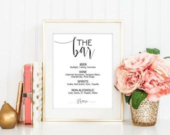 SALE Bar Menu Sign, Drinks Menu Sign, Alcohol Sign, Bar Menu Printable, Editable sign template, Wedding Sign Printable, Reception Sign