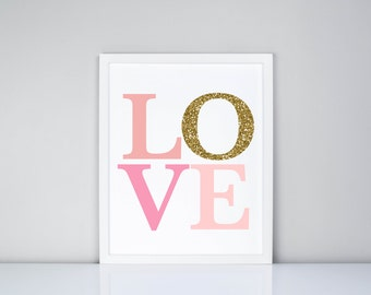 Love in Pinks and Gold Printable // Nursery // Baby room decor // Girls Room Decor // Baby Gift