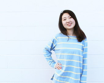 Blue/Yellow Stripe Sweater Long Sleeve Top
