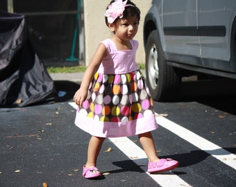Baby Easter Dress, Girls Easter Dress, Multi color Baby Girls Dress,Baby pink Polka dot dress,Girls summer dress, Girls Spring Dress