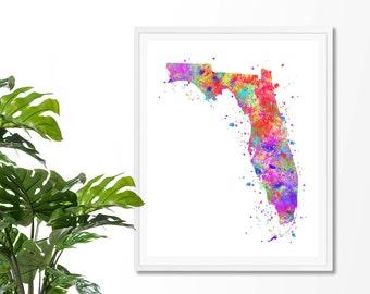 Florida Watercolor Map #3 Art Print, Poster, Wall Art, Contemporary Art, Modern Wall Decor, Office Decor