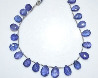 "1 Strand Tanzanite Pear Shape Beads - Tanzanite Faceted Briolette , Tanzanite Briolette , 10.5x8 - 13.5x10 mm , 8.5"" , BL1744"
