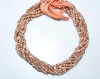"1 Strand Natural Peach Moonstone AB Silver Coated Faceted Rondelle - Moonstone AB Silver Coated Beads, 3.75 mm, 13""- MC174X"