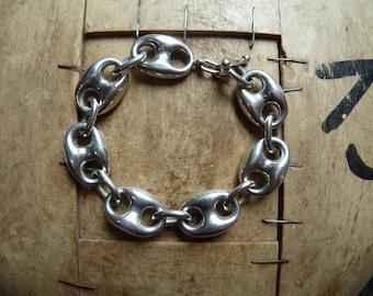 divine solid silver designer bracelet / handmade / unique / solid silver links (not hollow)