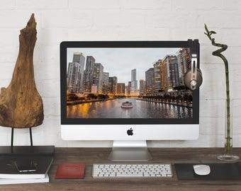 CHICAGO Cityscape Photograph, UHD 4K iPhone, iPad Wallpaper, MacBook Pro, iMac, PC Desktop Wallpaper, Computer Background, Instant Download