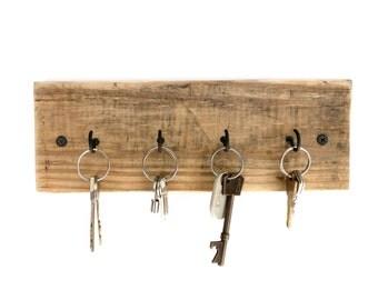 Reclaimed Wood Key Holder - key hanger key hook rack key rack key hooks wood wall hooks wall decor rustic wall hooks pallet wood key holder