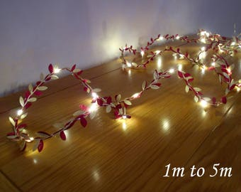 Burgundy & Gold Leaf LED Garland - Fairy Lights / String Lights - Battery Operated - Indoor Bedroom Wedding Decorations 2m / 3m / 4m / 5m